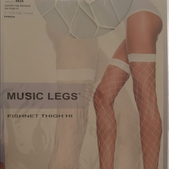 Music Legs Accessories - Music Legs Fishnet Thigh Hi White